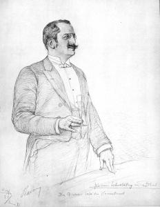 """""""Albert Ballin 1891, von C.W. Allers"""" von Christian Wilhelm Allers - Buch """"Backschisch"""" von C.W.Allers über die erste Kreuzfahrt, 1891 (auch Neuauflage 2008). Foto: Wikipedia"""