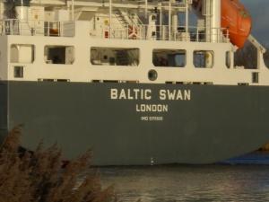 Die Baltic Swan mit der IMO-Nummer. Foto: Stefan Fuhr